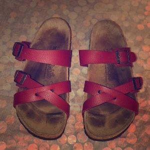 Birkenstock Birki's Red Slide Sandals